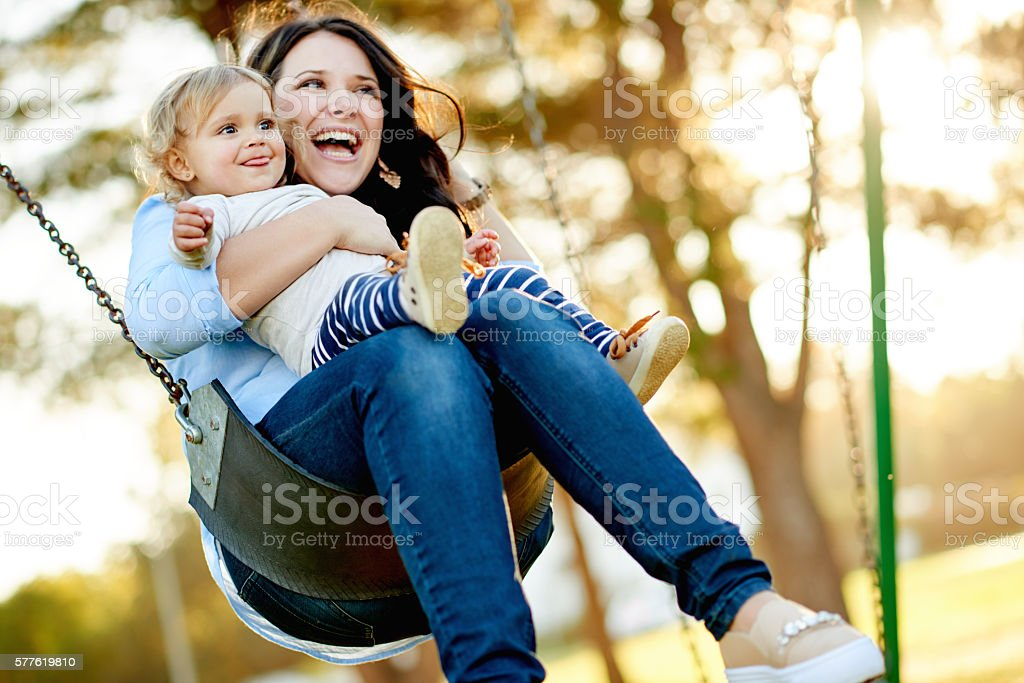 Bonding with her baby girl stock photo