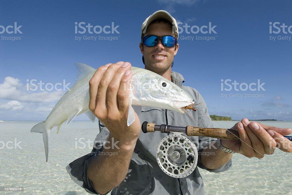 bonefish caught with flyrod stock photo