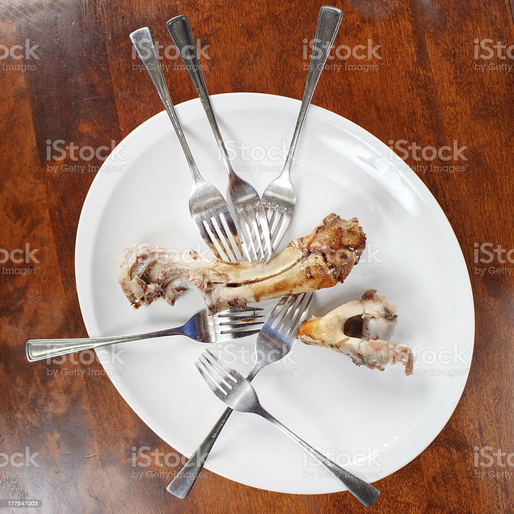 bones and forks on the plate stock photo