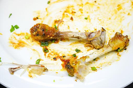 Chicken Bones scraps on a white plate