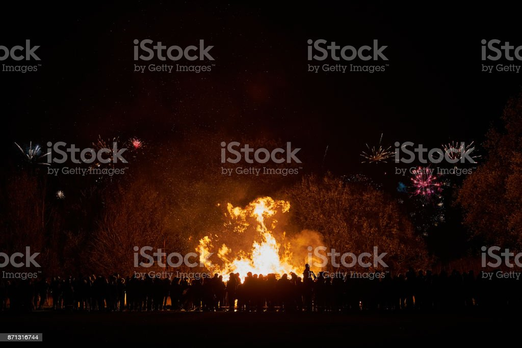 Bonfire and Fireworks stock photo