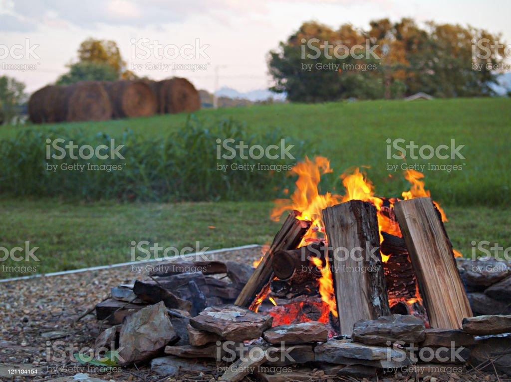 Bonfire at a Camp royalty-free stock photo