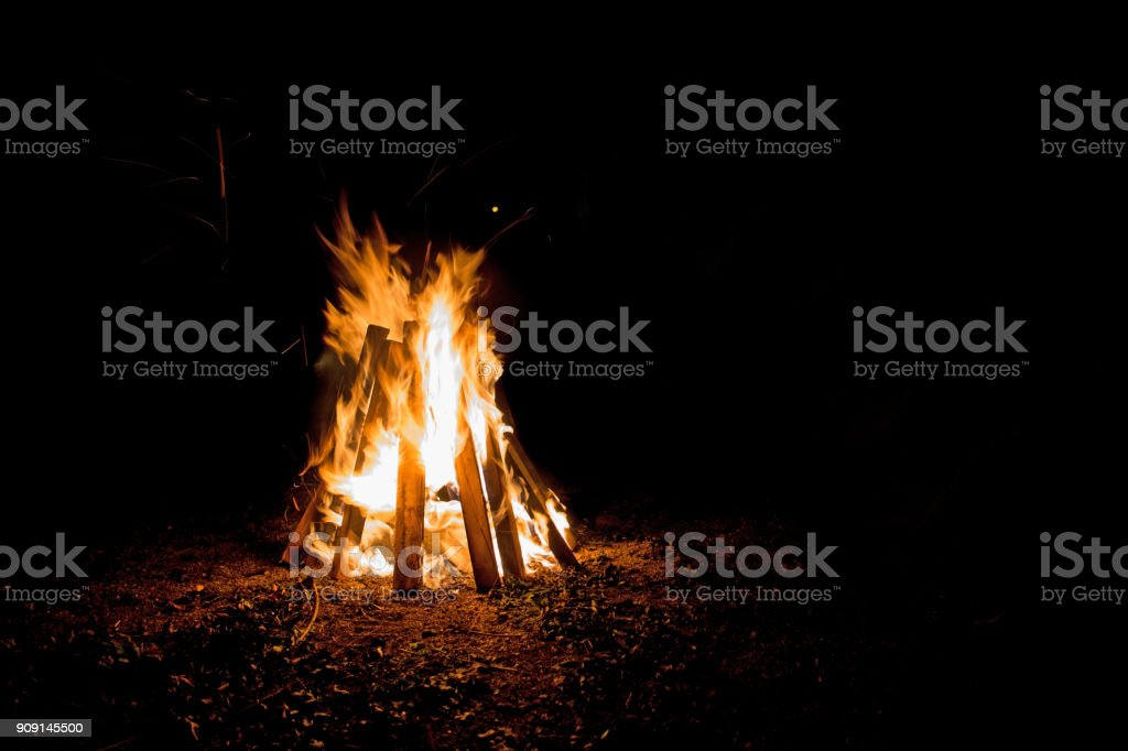 A bonfire at night stock photo