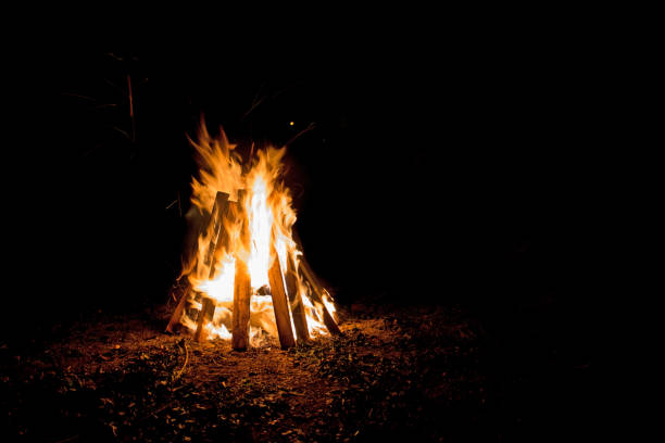 a bonfire at night - falò foto e immagini stock