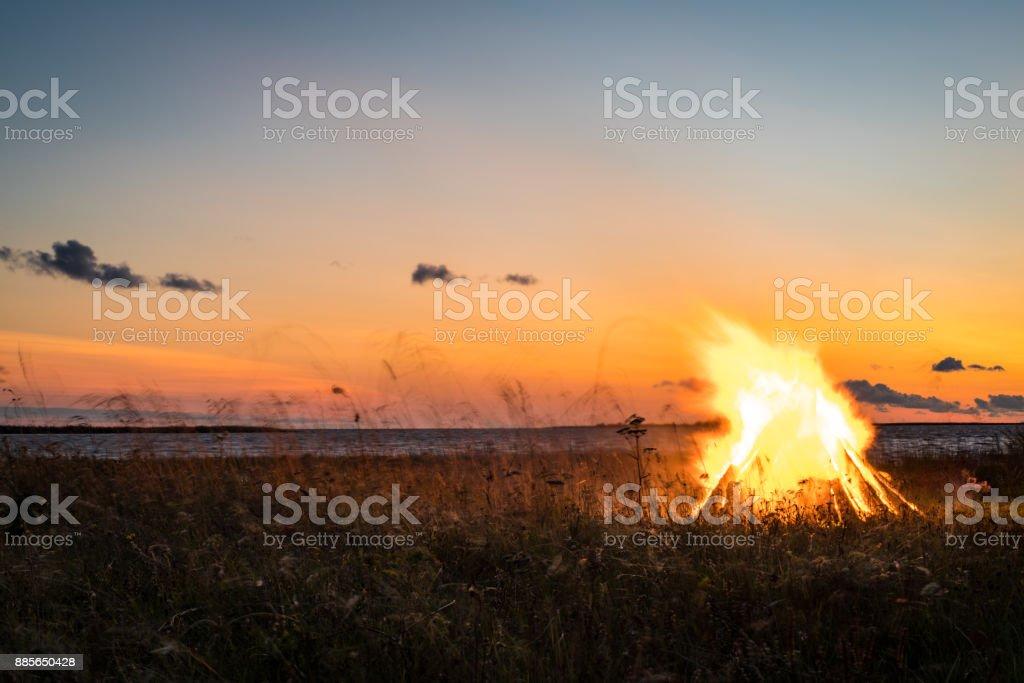 bonfire by the sea stock photo