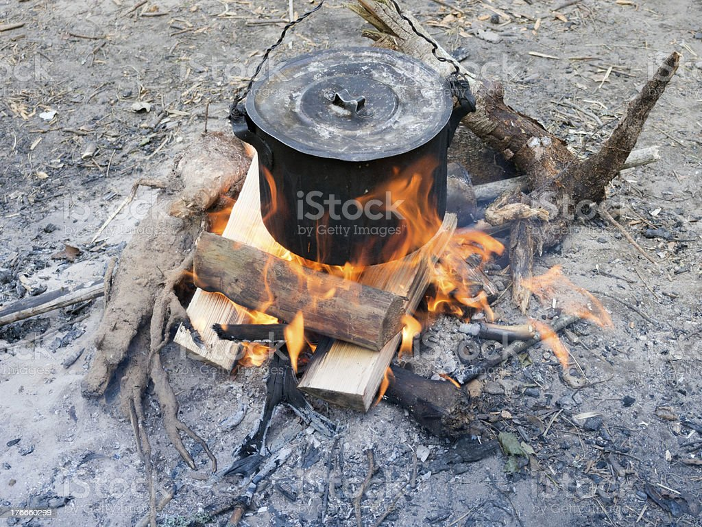 bonfire cooking royalty-free stock photo