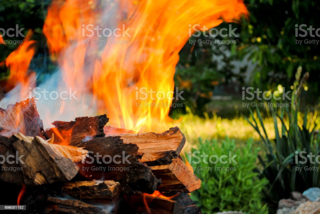Bonfire fire on wood logs in a barbecue on the grass background stock photo
