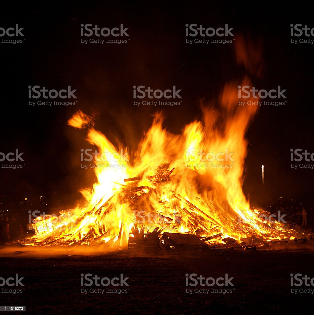 Bonfire in Iceland on New Years Eve royalty-free stock photo