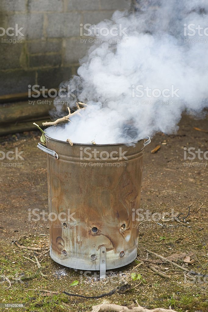 Bonfire In The Bin royalty-free stock photo