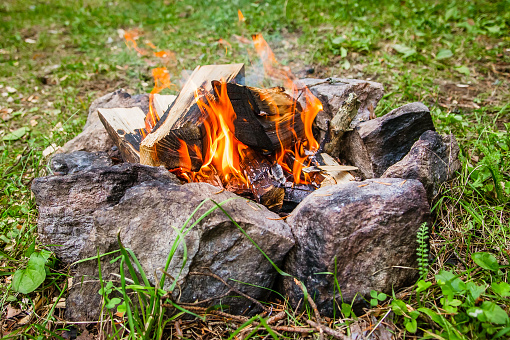 bonfire in the circle of stones in the forest