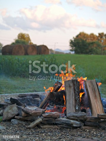 a bonfire in the country.