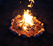 Bonfire in the night, camping in summer