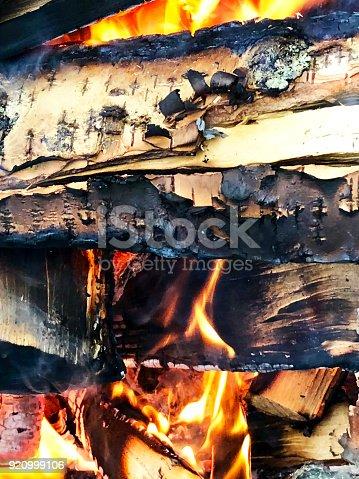 Bonfire made of birch firewood