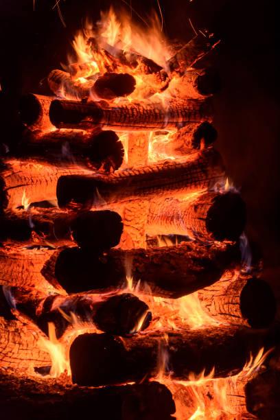 Bonfire of Saint John typical of brazilian folklore stock photo