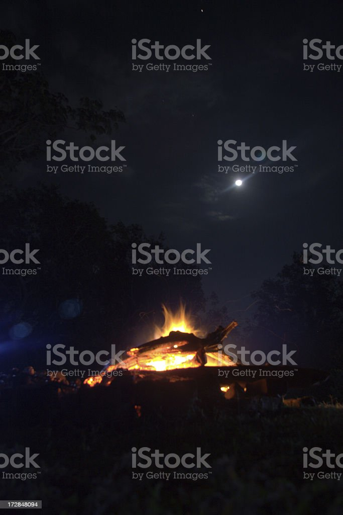 Bonfire on a moonlit night stock photo