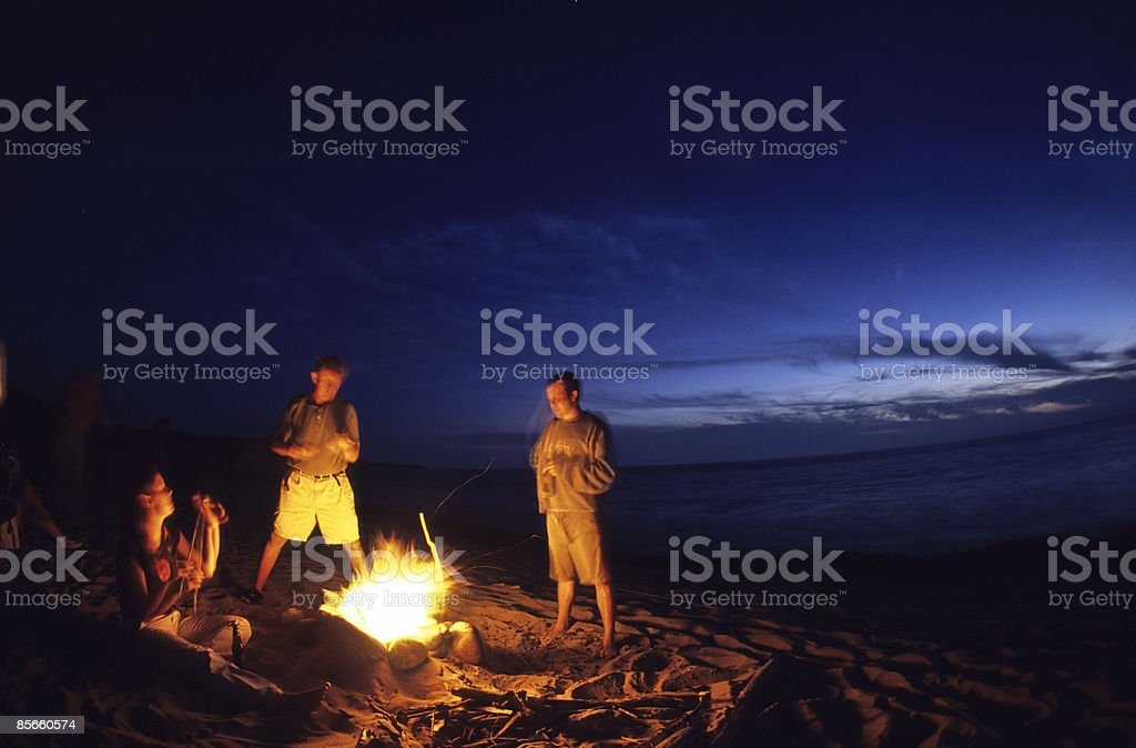 Bonfire on beach with ocean in background. royalty-free stock photo
