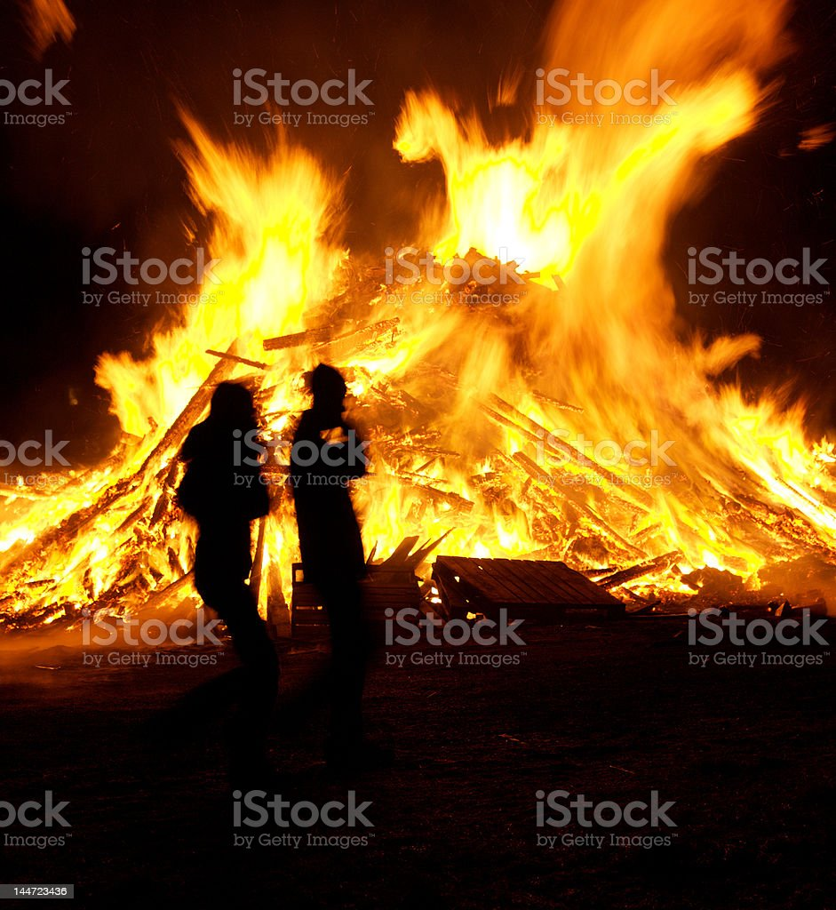Bonfire on New Years in Iceland royalty-free stock photo