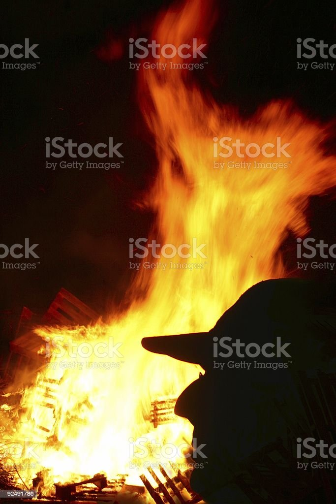 Bonfire with man's silhouette royalty-free stock photo