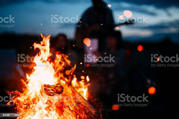 Photo of Bonfire with sparks flying around