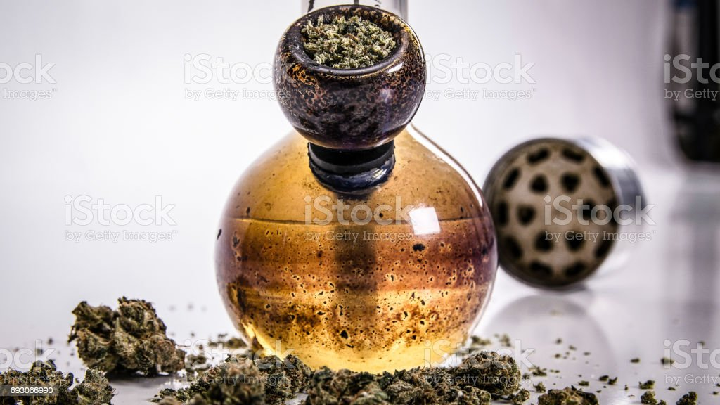 bong and cannabis stock photo