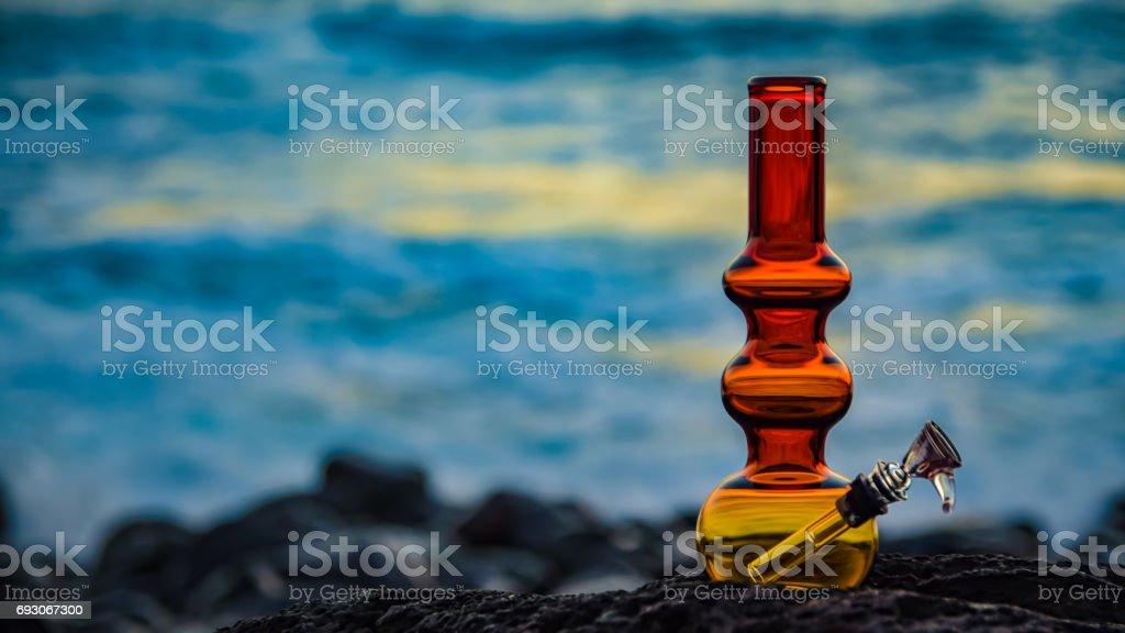 bong on blue sunset stock photo