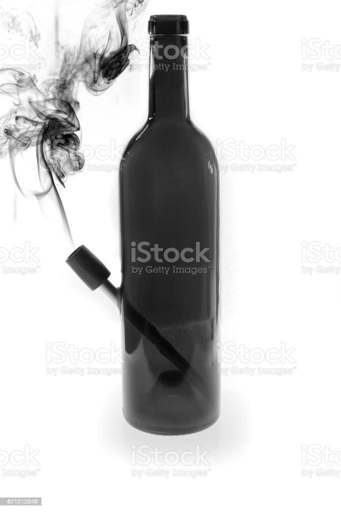 Bong smoking marijuana made of old bottles, Recycling glass bottles. stock photo