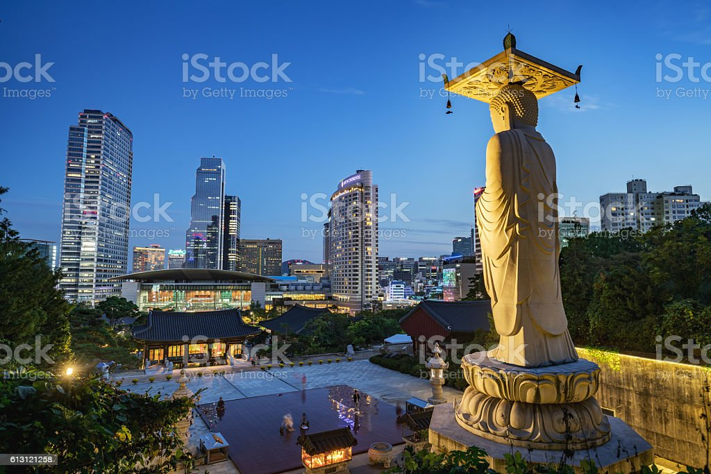 Bongeunsa Temple Seoul Modern Buildings at Night South Korea stock photo