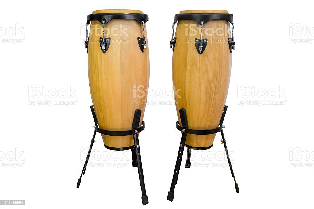 bongos isolated on white background stock photo