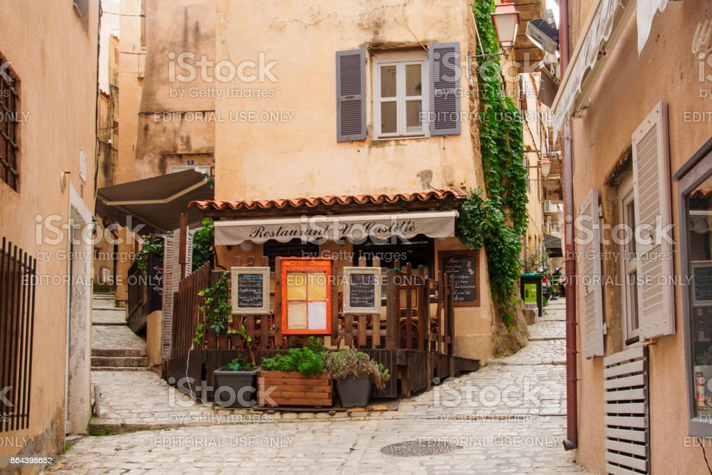 Bonifacio Alley, Corsica stock photo