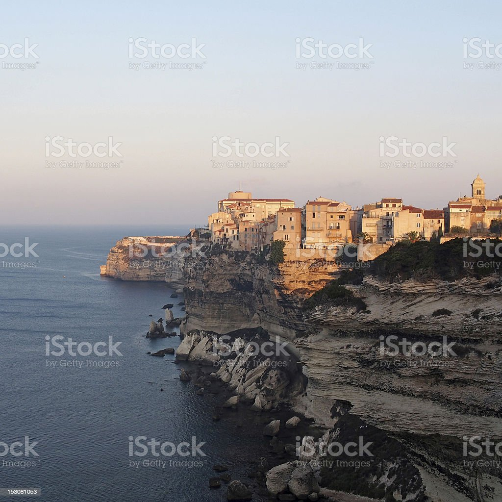 Bonifacio at sunrise, Corsica, France stock photo