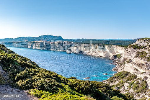 Horizontal color image of Bonifacio in south Corsica.