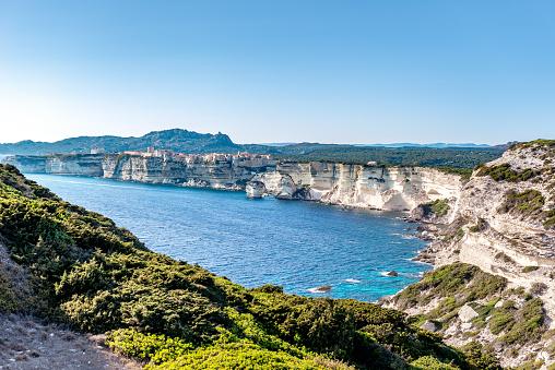 Horizontal color image of Bonifacio in south Corsica.