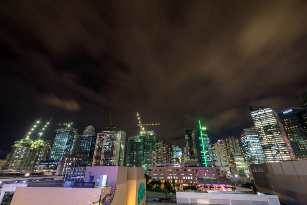 BGC, Bonifacio global city skyscrapers at night on oct 10, 2017 in Manila, Philippines stock photo