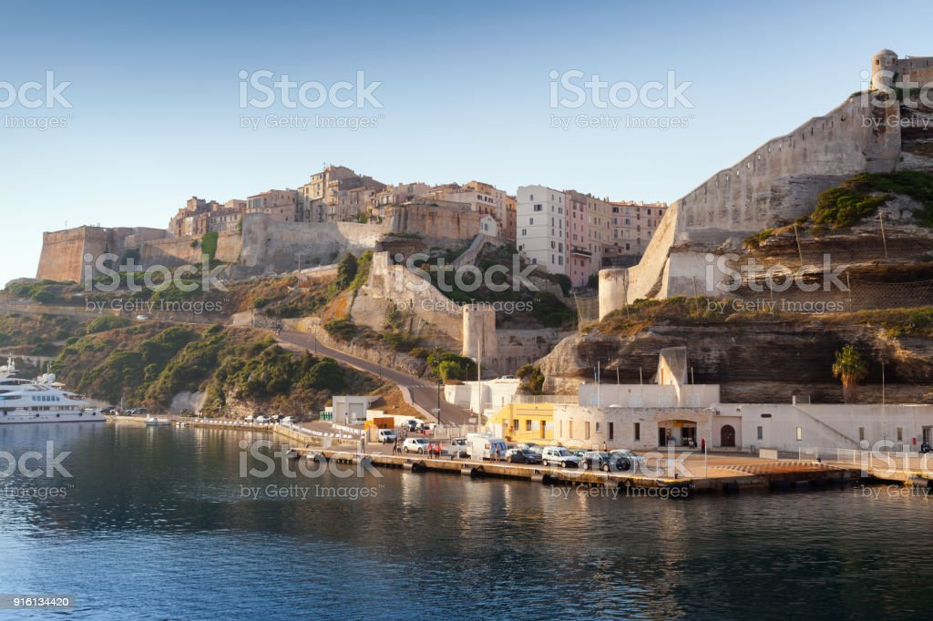 Bonifacio landscape in morning, Corsica stock photo