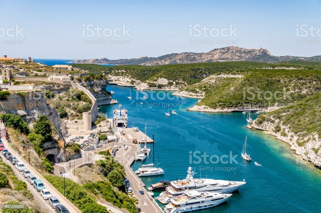 Bonifacio marina and bay on a beautiful day, Corsica, France stock photo