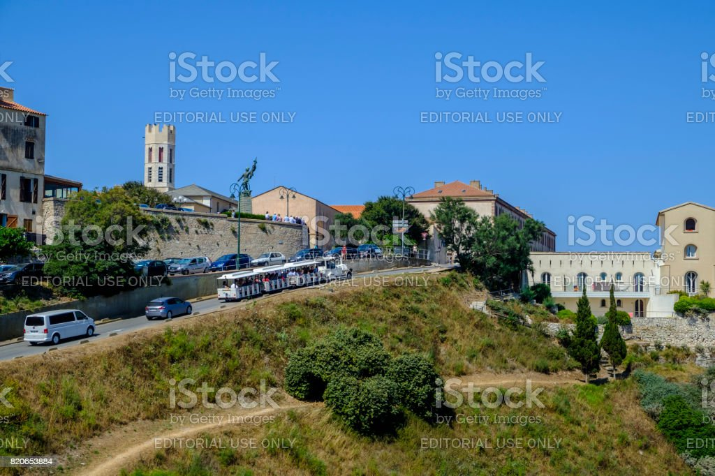 Bonifacio tourist train stock photo