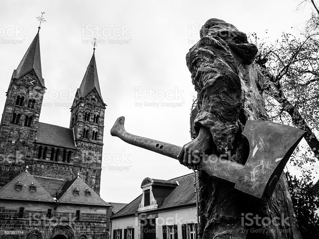 Bonifatius in front of the cathedral in Fritzlar stock photo