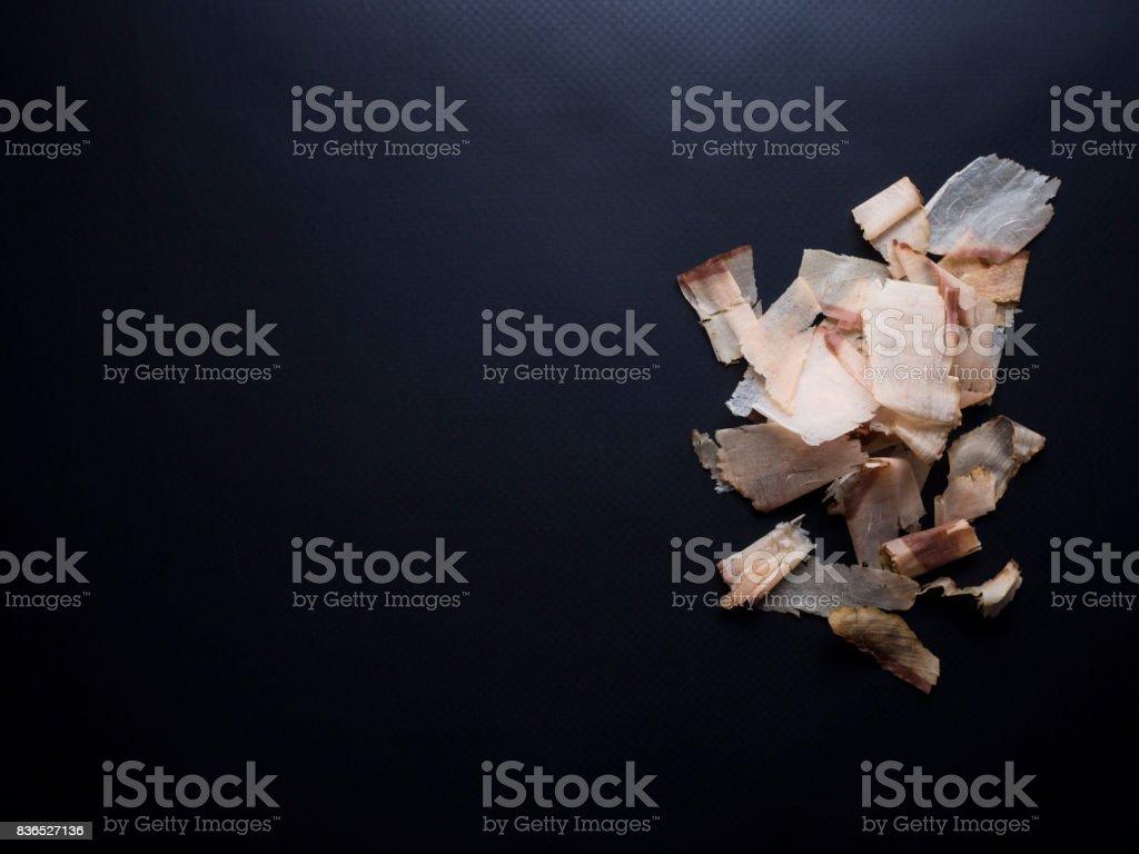 Bonito flakes isolated on black background stock photo
