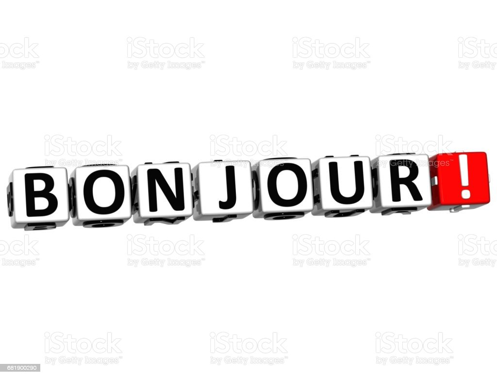 3D Bonjour block text on white background stock photo