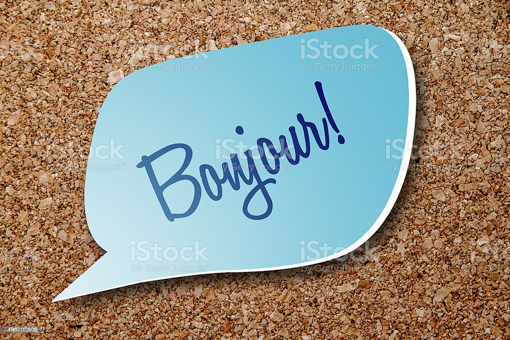 Bonjour - say good morning in French stock photo