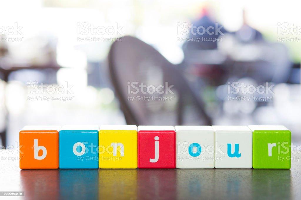 Bonjour, word stock photo