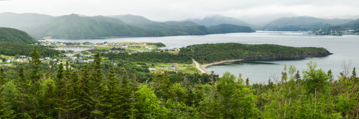 Norris Point, Bonne Bay and surrounding forests seen from the view point at the Jenniex House in Gros Morse National Park, Newfoundland