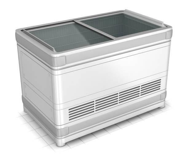 Bonnet freezer for shopping halls stores stock photo