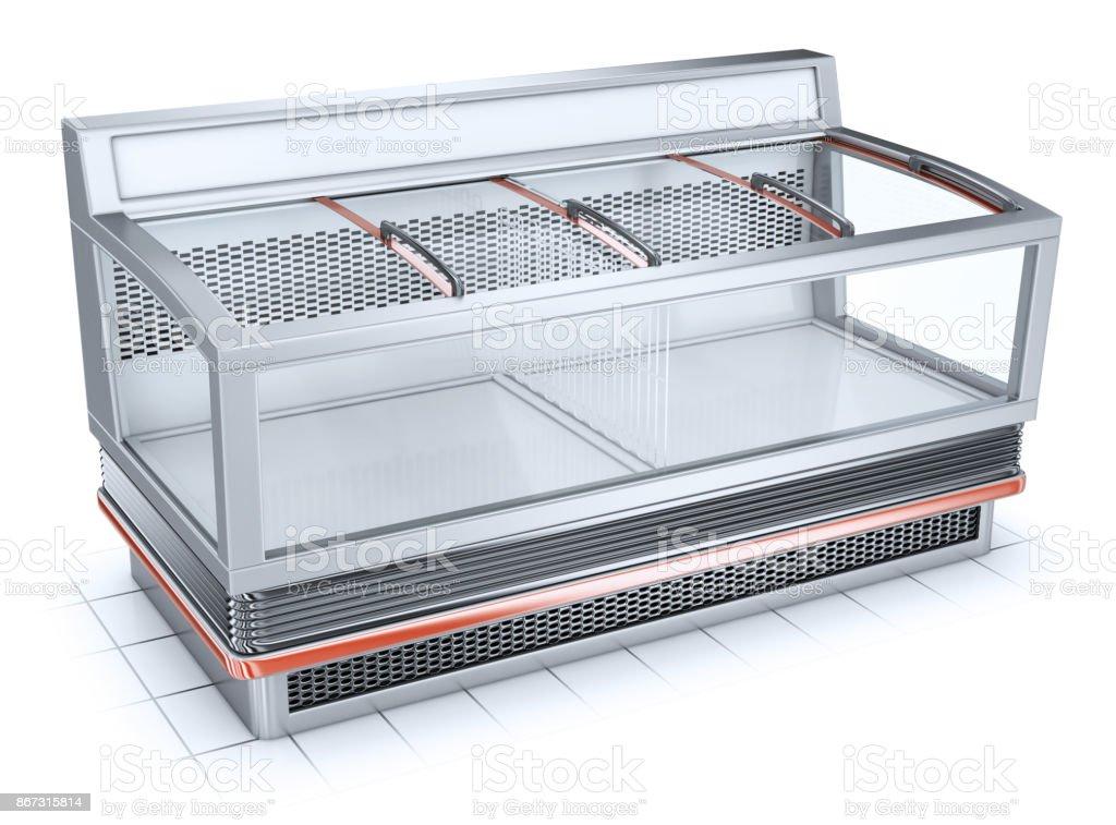 Bonnet glass showcase freezer. stock photo