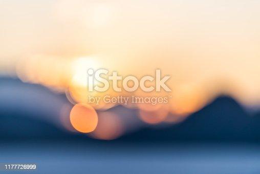 Bonneville Salt Flats abstract bokeh view of mountains silhouette and sunset sunlight circles near Salt Lake City, Utah