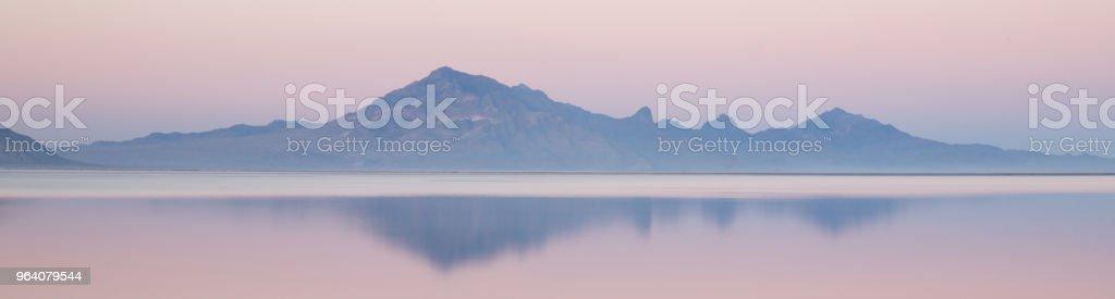 Bonneville Salt Flats Graham Peak Sunset Mountain Range Snow Mirage - Royalty-free Atmospheric Mood Stock Photo