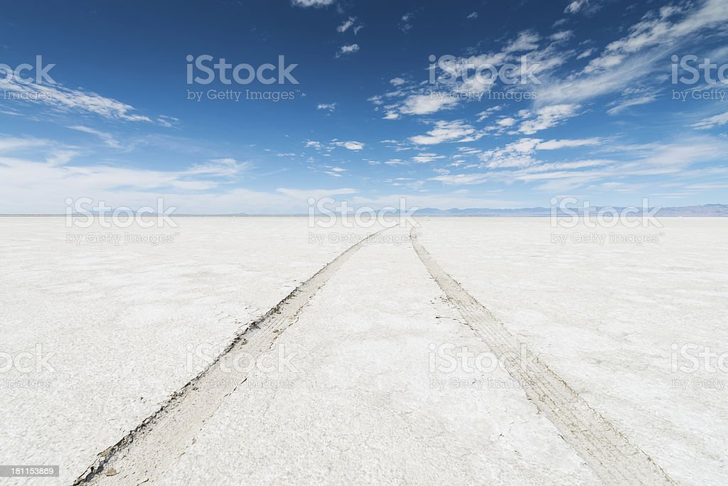Bonneville Salt Flats SUV Car Tracks Desert royalty-free stock photo