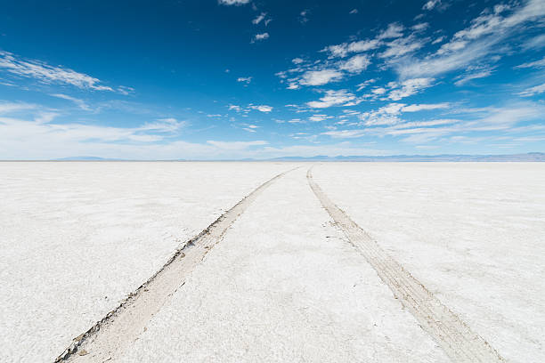 Bonneville Salt Flats SUV Car Tracks Desert Car Tire Track to the horizon under blue sky in the Salt Flats Desert close to Bonneville, Salt Lake City, Utah, USA. bonneville salt flats stock pictures, royalty-free photos & images