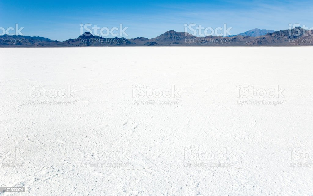 Bonneville Salt Flats with Mountains stock photo