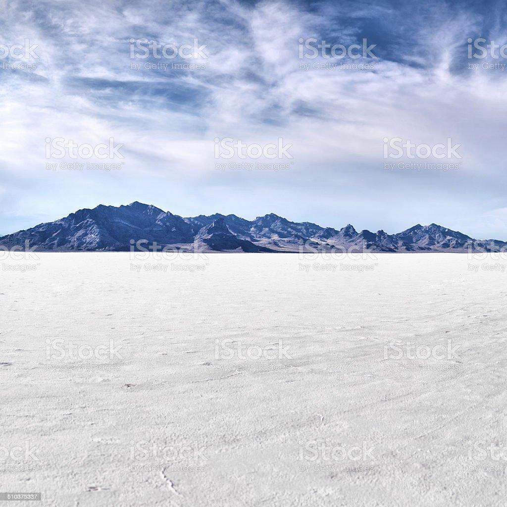 Bonneville salt flats with sky stock photo